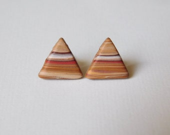 Triangle Stud Earrings, faux wood earrings, polymer clay jewelry
