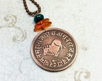 India coin necklace. Antique 1891 coin pendant. India Indore Sacred Bull necklace. Cow necklace. Amber necklace. Nepal Vikram Samvat