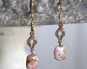 Pink gemstone earrings pink dangle earrings gold earrings assemblage earrings assemblage jewelry F577- by French Feather Designs.