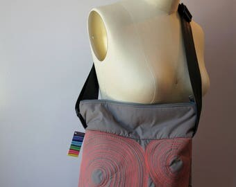 small zippered bag • washable • lightweight • durable • one of a kind • work. gym. play. travel. vegan • cross body bag • grey