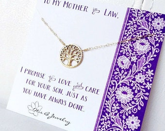 Mother in law gift from bride, Mother of the groom gift from daughter in law, family tree necklace, sentimental card, mothers charm necklace