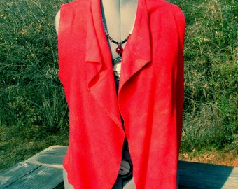 M. City Vest in red bamboo fleece fabric. Many ways to wear it! Cozy And Stylish. Fire red.