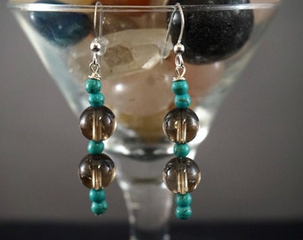 Smoky Quartz and Turquoise Earrings