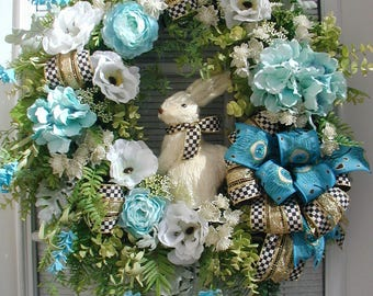 Spring Summer Wreath Sisal Bunny Rabbit Elegant Front Door Easter Decoration Teal Blue White Poppies Floral Large Grapevine Luxe Ribbon