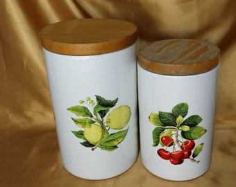 Set of 2 Portmeirion PRT2 Fruit & Flowers On Branches Canisters with Wood Lids England *eb