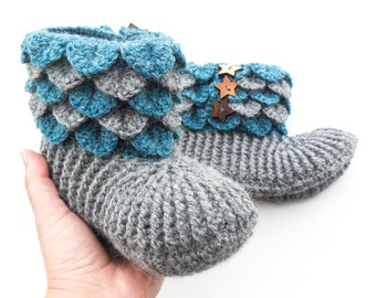 Crochet Dragon Scale Slippers - Women's Alpaca Boots - Crocodile Stitch Slippers With Wood Buttons