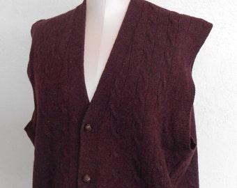 Cable Knit Sweater Vest Vintage Men's by Nordstrom Size Large Shetland Wool