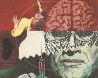 El Cerebro de Frankenstein - 10x16 Giclée Canvas Print of a Vintage Spanish Movie Flyer