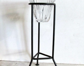 Retro Votive Candle Holder, Wrought Iron Stand, Decorative Glass holder, Votive Candle holder, Tall Candle Stand, Graduating Clear Glass,