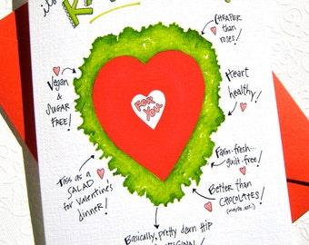 Kale Valentine Card - Funny Valentine Card - Vegan Valentine - Foodie Card