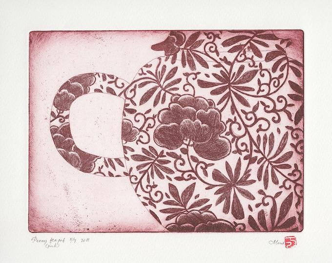 pink peony teapot print