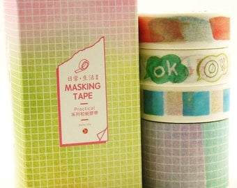 OK - Japanese Washi Masking Tape Set - 4 rolls - 3.3 Yard (each roll)