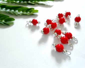 Bright Red Opaque Dangle Beads