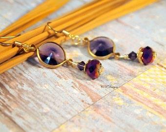 Purple Rivoli Drop Earrings , Vintage Lucite Drop  Pierced or Clip-on Earrings. Crystal Drop Earrings, OOAK Handmade Earrings.