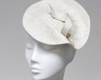 The Fascinateur Bridal Hat - Ivory Hat - Saucer Hat - Scroll Detail - Wedding Fascinator - English Wedding