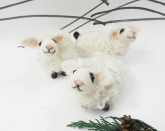 Needle felted lamb ornament, felted white sheep, spring sheep, new baby gift, white lamb, miniature felt lamb by Curly Furr, red bow