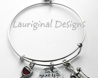 Wine bracelet - Wine lover - expandable bracelet - Any text that fits - hand stamped stainless steel