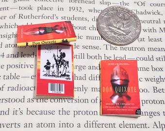 SALE - Miniature Book / Don Quixote de la Mancha by Miguel de Cervantes Saavedra / Tiny Book / 1:6 sixth scale mini book / Sancho Panza
