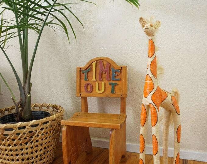 Tall Vintage Sisal Raffia Giraffe Doll
