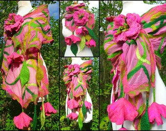 silk scarf, nuno felted scarf, shawl, merino wool, handmade, lagenlook, felted flowers, leaves, pink, green, READY TO SHIP