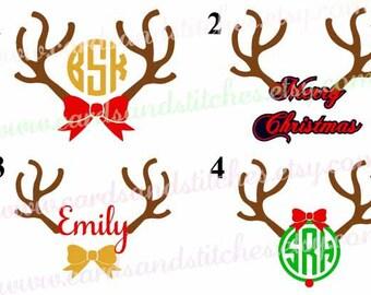 reindeer vinyl decals reindeer monogram decals christmas decals yeti decals or christmas iron
