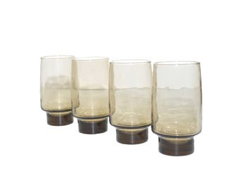 Vintage Smoked Tumblers Gray Glasses Gray Tumblers Mid Century Modern Glasses Set of 4