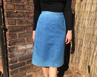 vintage high waisted denim chambray 1970s a-line skirt - w 26 / small
