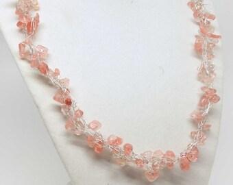 Pink Cherry Quartz Silver Necklace