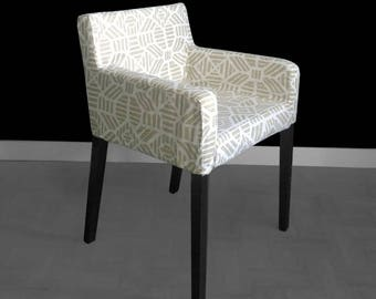 White Gold IKEA NILS Geometric Chair Slip Cover - Ribble Athena, SALE