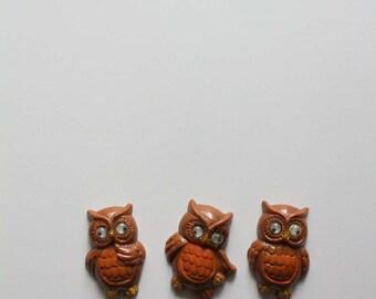 Vintage Owl Fridge Magnets 1980s