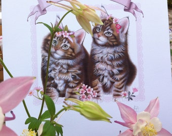 Sweet kittens illustration print - by Fiammetta Dogi - pink and romantic print - Marché au Fleurs - Romantic print for girls