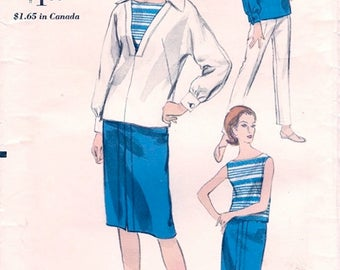 Versatile Nautical Vintage 1960s Vogue 5941 Overblouse, Sim Skirt, Blouse and Tapered Pants Sewing Pattern B36