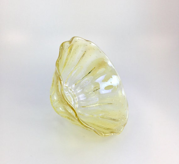Hand Blown Glass Bowl - Transparent Gold Luster Clamshell Bubble Bowl Form by Jonathan Winfisky