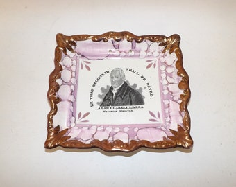 Antique Victorian Sunderland lustre wall plaque plate religious depicting Adam Clarke Wesleyan Minister