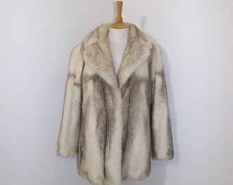Vintage 1950s real cross mink fur coat jacket sapphire cream grey by Dysons Furriers Ltd Size Medium UK 12 14
