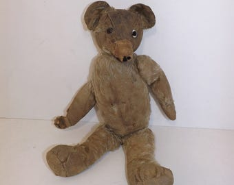 Antique early 1900s tatty teddy bear worn blonde mohair straw filled soft toy
