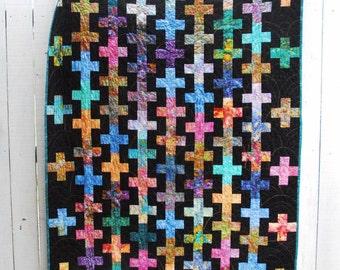 "Batik Quilt, Brilliant Jewel Tones, ""Adding Rows"" Batik Quilt - Throw sized Quilt"