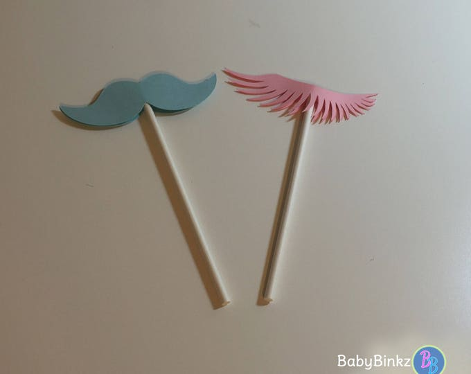 Cupcake Toppers: Gender Reveal Staches or Lashes - Die Cut Pink Eyelashes & Blue Mustaches