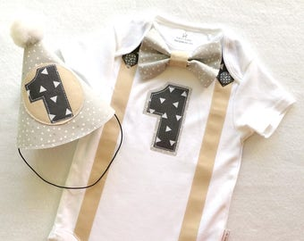 Baby Boys First Birthday Party Outfit in Handsome Tan, Charcoal and Grey