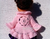 Crochet Pattern 180 Flower Cardigan for 18 in Doll Crochet Patterns Pink Vest Jacket for American Girl 18 inch Dolls Outfit My Life As Doll
