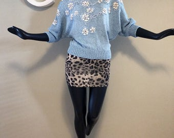 Vintage 80s Dolman Batwing Sleeve Sweater 1980s Light Blue Boatneck Bateau Boat Neck Embellished Beachy Sea Shell Sequins & Faux Pearls SM