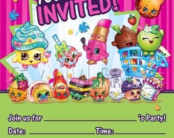 Shopkins Party Invitation - INSTANT DOWNLOAD - Shopkins Birthday Invitation -  Shopkins Digital Invitation - Shopville Invitation