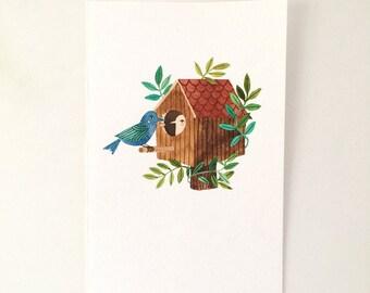 Original watercolor illustration - Bird House