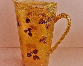 Vintage Lucite Pitcher Gold Leaf Confetti 1 Qt Insulated Double Wall 1950's Mid-Century Kitchen