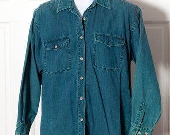 Vintage 80s 90s Denim Button Down Shirt - PARIS SPORT CLUB - M