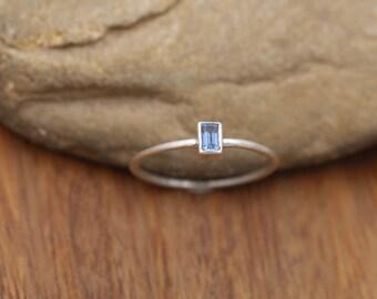 Ceylon Sapphire Bezel Ring - Dainty Matte Finish Solitaire Ring - Rectangular Ring - Alternative Engagement Ring - 1.3mm Band