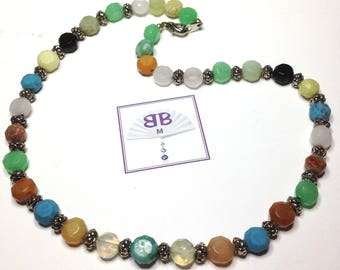 """Handmade 16"""" NECKLACE Mixed Semi Precious GEM Nuggets Silver ACCENT Beads Lobster Claw Closure"""