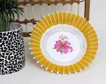 1950s Plastic Woven Fruit Basket with Flower Design