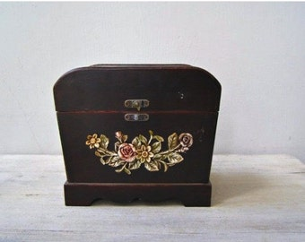 Wood Chest Box Floral, Shabby Storage Folk Art Case, Wooden Treasure Box, Vintage Desk Organizer, Vanity Table Decor