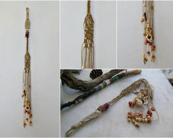 Macrame Wall Hanging Long, Rustic Knot Wall Hanging, Beaded Macrame Mobile, Boho Macrame Wall Accent Wall Hanging Mobile, Hemp Wall Macrame